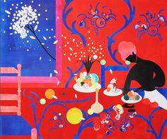 """Saatchi Art Artist: Désirée Liberté; paint 2013 Collage """"Red&Blue"""""""