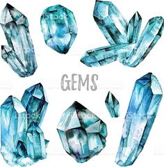 Watercolor Gems collection royalty-free stock vector art