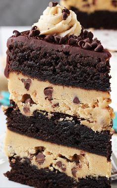Peanut Butter Cookie Dough Brownie Layer Cake Recipe