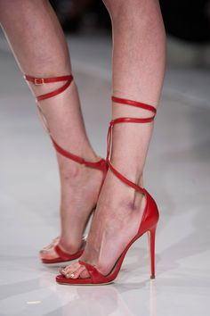 Genny Red Ankle Wrap Sandal Spring 2014 #Shoes #High #Heels