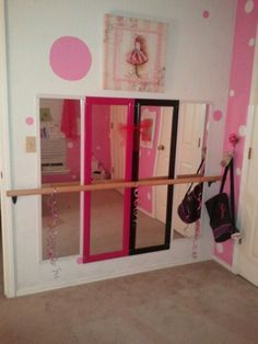 A mini-  ballet studio for my daughter's bedroom. I screwed these over the door mirrors into the wall, & used a stair banister supported into the studs. Easy project & a big hit with my lil dancer!