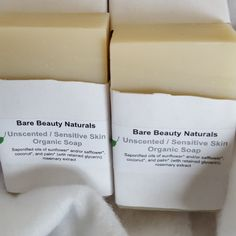 Unscented / Sensitive Skin Organic Soap by BareBeautyNaturals on Etsy