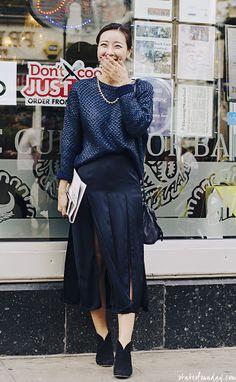 state of sunday, blue skirt, blue jumper, brick lane, london street style, street fashion