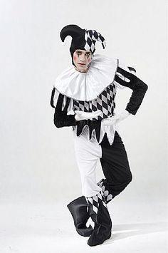 Adult Harlequin Costume. Halloween Festive Harlequin Fête