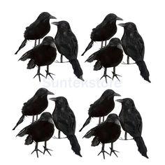 12Pcs 4'' Black Featherrealistic Looking Halloween Crows Ravens Bird Props