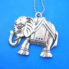 Elephant Abstract Animal Pendant Necklace in Silver on SALE $5.99 #elephant #animals #jewelry #charm #necklace