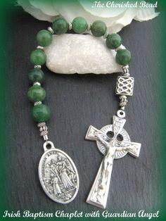 Irish Catholic Baby Baptism Chaplet with by TheCherishedBead, $25.00