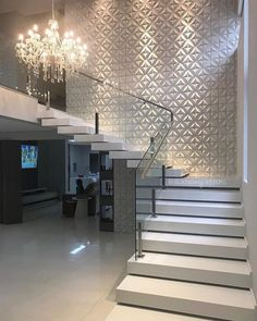 amazing modern stairs for entryway or foyer Staircase Wall Decor, House Staircase, Stair Walls, Interior Staircase, Stair Decor, Home Stairs Design, Interior Design Living Room, House Front Design, Modern House Design