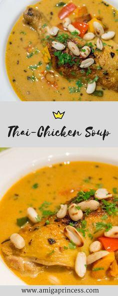 Thailändische Hühnersuppe, thai chicken soup, suppe, rezept, recipe, get the glow, low carb, easy, lecker, einfach und schnell, erdnüsse, peanuts, asiatisch, amigaprincess