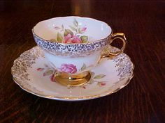 Rosina China CO Teacup Saucer Pink Rose Gold Gild
