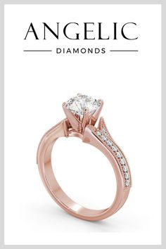 Look stylish and stunning with a rose gold engagement ring. Featuring a princess cut diamond and a delicate, unique design, this diamond engagement ring is beautiful.