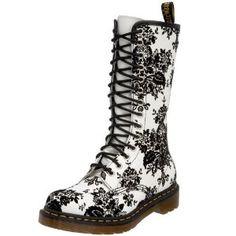 Black floral print Boots