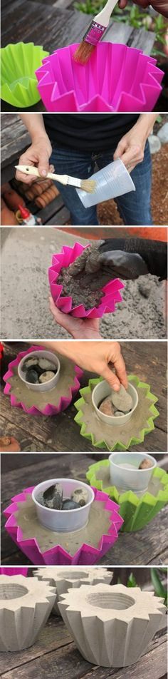 DIY Concrete Planters Fun, easy, and inexpensive hobby ideas. Day of the dead planters. You can find how to make…Concrete Eggssmall concrete planter Concrete Crafts, Concrete Art, Concrete Projects, Outdoor Projects, Garden Crafts, Garden Projects, Diy Projects, Fall Projects, Diy Concrete Planters