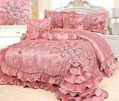 Ruffled Comforter Set 6 Pc Rose Pleats Luxury Faux Satin Bedroom Queen Cal King #TacheHomeFashion #Sissy