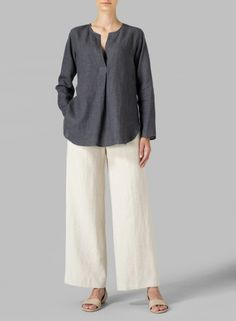 PLUS Clothing - Linen L/S Relaxed Fit Blouse