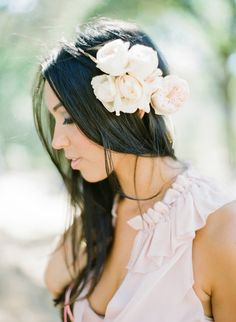 Gorgeous floral head band #hairstyles  Photography: KTMerry.com - View entire slideshow: 20 Fresh Flower Hairstyles for Spring + Summer on http://www.stylemepretty.com/collection/271/