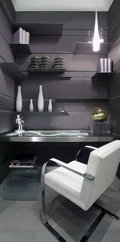 Home Office Ideas For Men masculine home office with striped accents and cream-and-black