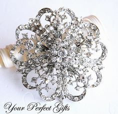 Rhinestone Brooch Component 21/4 Crystal by yourperfectgifts, $9.98