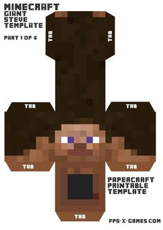 Minecraft giant Steve head papercraft template 1-4