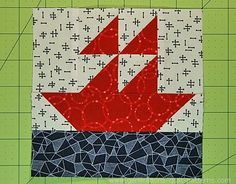 A simple Sailboat quilt block pattern. A handful of half squares triangles, 2 connector corners. A few seams. And this beginner friendly block is done!
