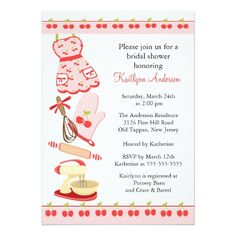 Custom Fun Cherry Retro Kitchen Bridal Shower Invitation created by celebrateitinvites. This invitation design is available on many paper types and is completely custom printed. Funny Wedding Invitations, Wedding Invitation Design, Zazzle Invitations, Bridal Shower Invitations, Retro Bridal Showers, Cherry Blossom Wedding, Color Rosa, Crate And Barrel, Cherry Kitchen