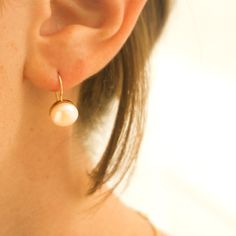 14K Gold Pearl Earrings Wedding Earrings Bridal Earrings