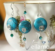 Jewelry set with earrings and pendant with turquoise by byVellamo, $39.00