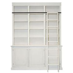 French Bookcase with Ladder - Antique White or Black | Furniture ...