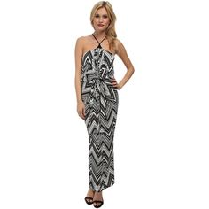 Tbags Los Angeles Halter Front Knot Maxi Dress Women's Dress, Black ($101) ❤ liked on Polyvore