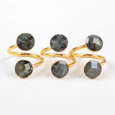 1Pcs Gold Plated Round Faceted Double Natural Labradorite Wrap Ring Adjustable Size Natural Gray Gemstone Ring Handmade Jewelry G1177-3 by Druzyworld on Etsy