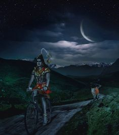 Shiva and Nandi by moonlight ~ Lord Shiva leaves His home on Mount Kailash in the Himalayas and tries a different mode of transportation. The bull Nandi, His traditional mount, runs along behind. Shiva Parvati Images, Mahakal Shiva, Shiva Statue, Shiva Art, Hindu Art, Tantra, Angry Lord Shiva, Lord Murugan Wallpapers, Rudra Shiva