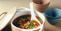 Hearty Vegetable Soup With Chickpeas Get your five serves of veggies a day, the easy way in this hearty soup. Healthy Soup Vegetarian, Vegetarian Recipes, Healthy Eating, Healthy Recipes, Healthy Food, Vegan Food, Clean Eating, Hearty Vegetable Soup, Veggie Soup