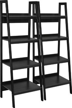 """Altra Furniture Metal Frame Bundle Bookcase Ladder, Black, Set of 2 by Altra Furniture. Save 47 Off!. $99.98. 2 bookcases included. 4 shelves provide ample storage for books, binders, office supplies, and personal items. Easy Assembly. Sturdy metal frame. This is a bundle, folks, yes, a bundle. Not only do you get a bookcase but you get two bookcases. Never do you have to feel the """"I wish I had another bookcase to go on the other side"""" again. This bundle of two Ladder Bookcases will so..."""