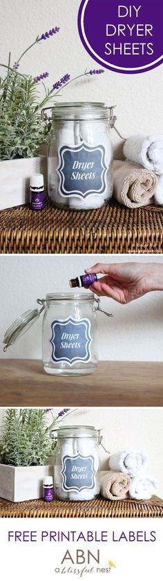 Homemade Dryer Sheets and free printable jar labels by A Blissful Nest. Great use of essential oils!