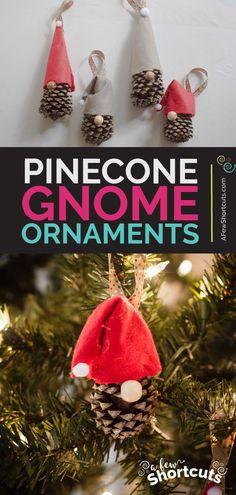 DIY Pinecone Gnome Christmas Ornaments