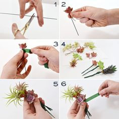 """1. Trim the wire into 3"""" pieces (make sure to hold either end so you don't send metal flying off into the ether/your own eyes). 2. Gently poke the wire into the base of the succulent, as close to the actual root (if there is one) as possible.3. Using the floral tape, wrap all the way from the top of the wire to the bottom, attaching the root to the wire.4. Repeat for the desired number of stems (we used around 5 or 6 for each accessory). 5. Gather your stems together.6. Wrap all stems…"""