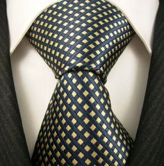Neckties By Scott Allan 100% Woven Tie, Navy Blue Yellow Neckties (Diamond) $14.99