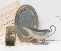 Antique Pewter Gravy Boat and Tray 1915 Royal M.M. Co.