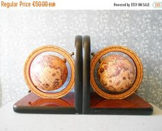 ON SALE Vintage bookends world globes on wooden by Birdycoconut