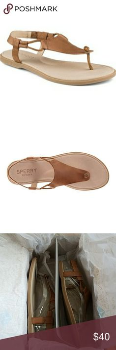 """Sperry """"Calla Jade"""" Sandal New in box! Sperry """"Calla Jade"""" Sandal  -color is tan -rawhide knot detailing makes this casual sandal special -size 5 1/2  *The top of the box (see last photo) was accidentally cut as I was opening up the original shipment box but the shoes are perfectly fine (see third photo)* Sperry Top-Sider Shoes"""