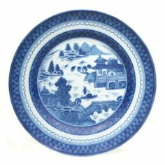 """Mottahedeh Blue Canton Bread & Butter Plate 7 in by Mottahedeh. $45.00. The most fashionable tables in the early American Republic were set with blue and white """"Canton"""" ware, named for the great Chinese trading port from which it came. Recognized by the blue lattice border surrounding a variety of landscape scenes, this popular pattern inspired many European versions, most notably the English """"Willow Ware."""" In America, Chinese blue and white porcelain was in demand well int..."""