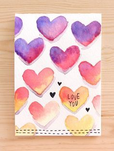 Easy DIY Valentine's Day Card Made with Minimal Supplies: $2 Crayola Watercolor Set and a black pen.