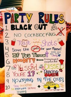 Party rules poster Party rules poster Related posts: Our version of a Project X Party Rule Poster. Happy Birthday my dear friends 17 Irresistible Party Food Ideas Let's Hang! ENO party ideas 32 Ideas For Party Food Ideas For Adults Winter Apple Cider Sleepover Games, Teen Party Games, Game Party, Teen Parties, College Parties, Spa Party, 18th Birthday Party, Birthday Party Games, Birthday Ideas