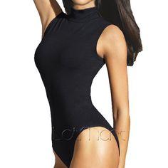 Nouveau Femme Femmes col en V profond Plain Body Sans Manches Extensible Justaucorps Haut Débardeur