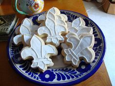 Fleur de Lis sugar cookies for the Geek Dinner.