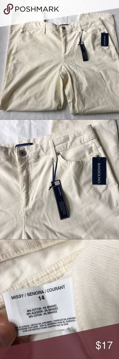 """BRAND NEW Winter White Corduroy Pants Size 14 Brand new with attached tags. Creamy winter white color. Retail $55.99. Waist 18"""" across, rise is 11.5"""", inseam is 30.5"""" 📦Bundle and save💰5%! ❌Price is firm unless bundled❌ Bandolino Pants Straight Leg"""