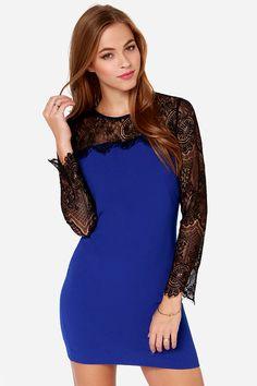 Aryn K Celebutante Black and Cobalt Blue Lace Dress at Lulus.com!