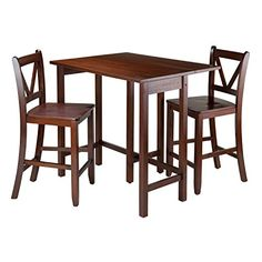 Winsome 3Piece Lynnwood Drop Leaf Table with 2 Counter VBack Stools Brown *** Check out the image by visiting the link.Note:It is affiliate link to Amazon. #ootd
