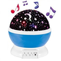 Musical Night Light,360 Rotating Star Lamp Baby with Rechargeable Battery,12 Son