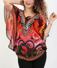 Loving this Shoreline Red Abstract Embellished Cape Sleeve Top - Plus on #zulily! #zulilyfinds